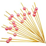 """PuTwo Cocktail Picks Handmade Bamboo Appetizer Toothpicks 100 Counts 4.7"""" Pink Pearls"""