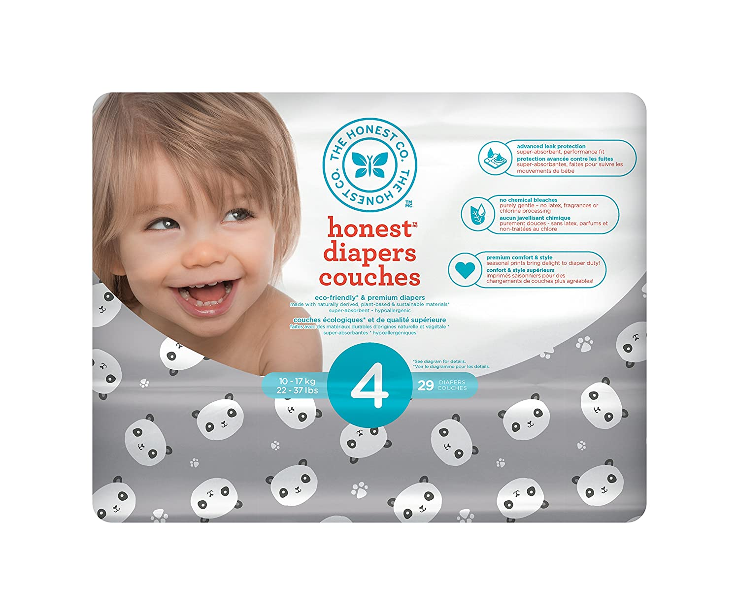 The Honest Company Disposable diapers, pandas print polybag, size 4, 29 Count H01DPR00D3S4C