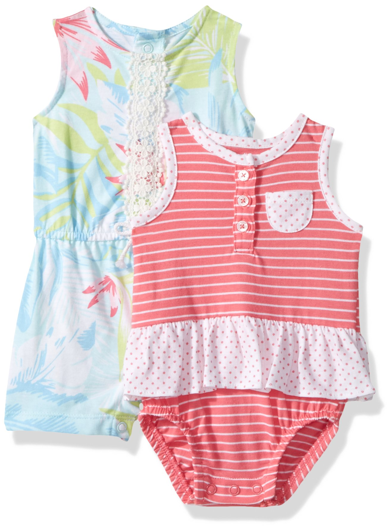 Carter's Baby Girls' 2-Pack Romper, Floral/Pink, 18