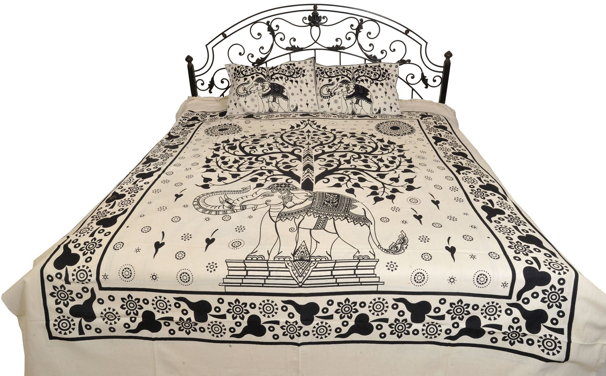 White and Black Bedsheet with Printed Tree of Life and Royal Elephant - Pure Cotton with Pillow Cove by Exotic India (Image #1)
