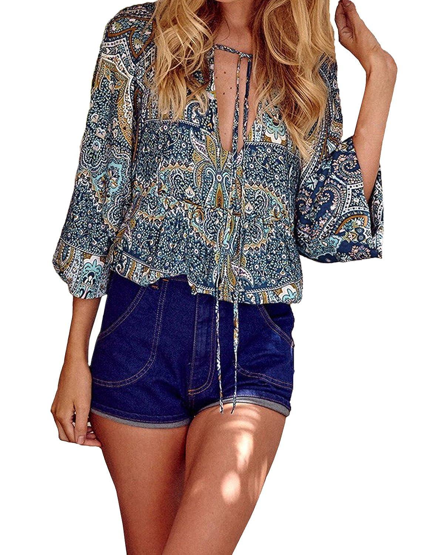 StyleDome Mujer Camiseta Blusa Tribal Étnica Cuello Pico Mangas Largas Estampada Elegante: Amazon.es: Ropa y accesorios