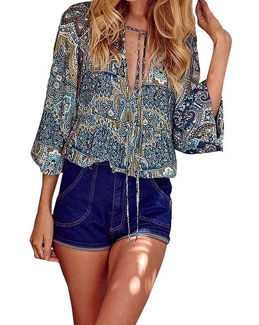 StyleDome Mujer Camiseta Blusa Tribal Étnica Cuello Pico Mangas Largas Estampada Elegante Azul EU 36