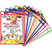 """SUNEE Dry Erase Pockets 10 Pack - Reusable & Oversized 10"""" x 14"""" - Clear Durable Plastic Sleeves with 1 Rings for…"""