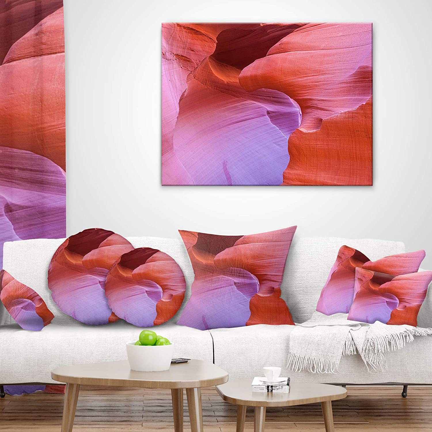Sofa Throw Pillow 20 Insert Printed On Both Side Designart CU8801-20-20-C Antelope Canyon Landscape Photography Round Cushion Cover for Living Room
