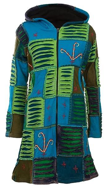 Michael Heinen Patchwork Mantel | Hippie Mantel | Model Long Coat | Innenfutter aus Fleece | Damen | Goa Jacket | Cutwork | Kapuzen Sweatmantel |