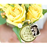 Bridal Bouquet Photo Charm Dad You Walk Beside Me Every Day Wedding Pendant Father Memorial Remembrance Photo Jewelry