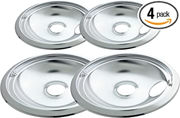 4 Stove Drip Pans for GE Kenmore WB31T10010 WB31T10011 Stainless Steel Drip Pans Replacement Heavy Duty Chrome Finish Durable Saving Energy Easy to Install
