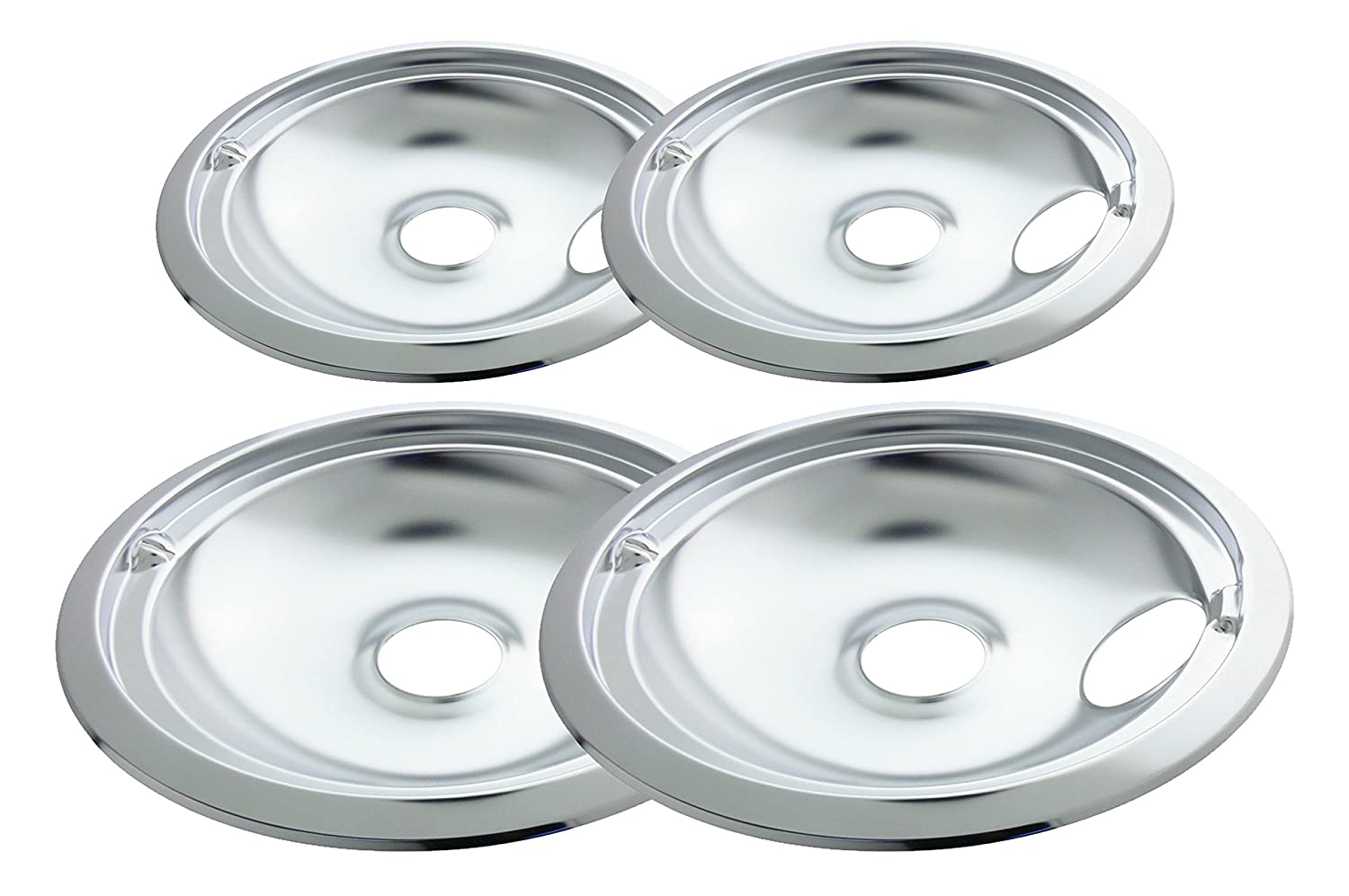 Range Kleen 11920-4X GE Drip Pans Containing 2 Units each 119A, 120A, Chrome