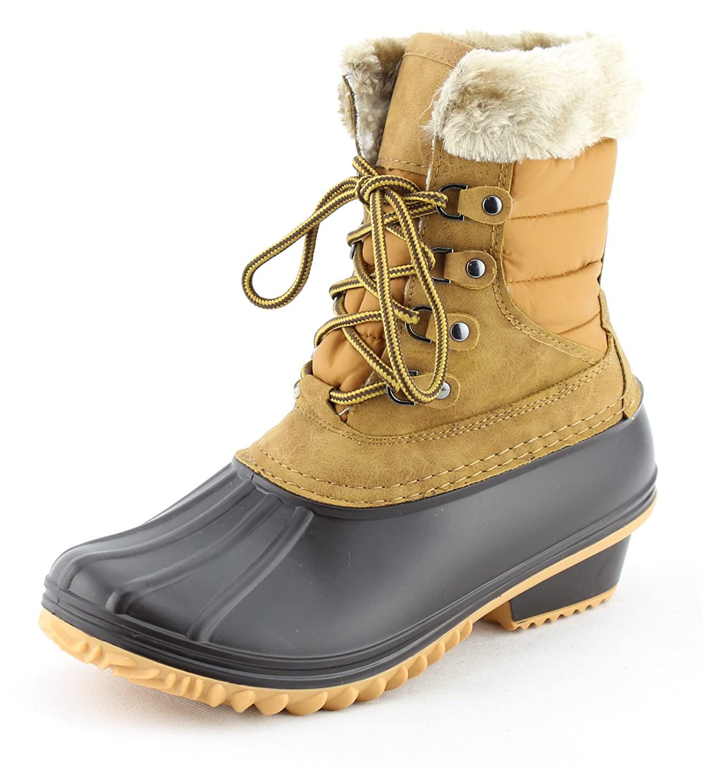 CALICO KIKI Women's Lace Up Warm Water Resistant Fur Padded Winter Snow Duck Boots B078KHSQDV 9 B(M) US|Tan
