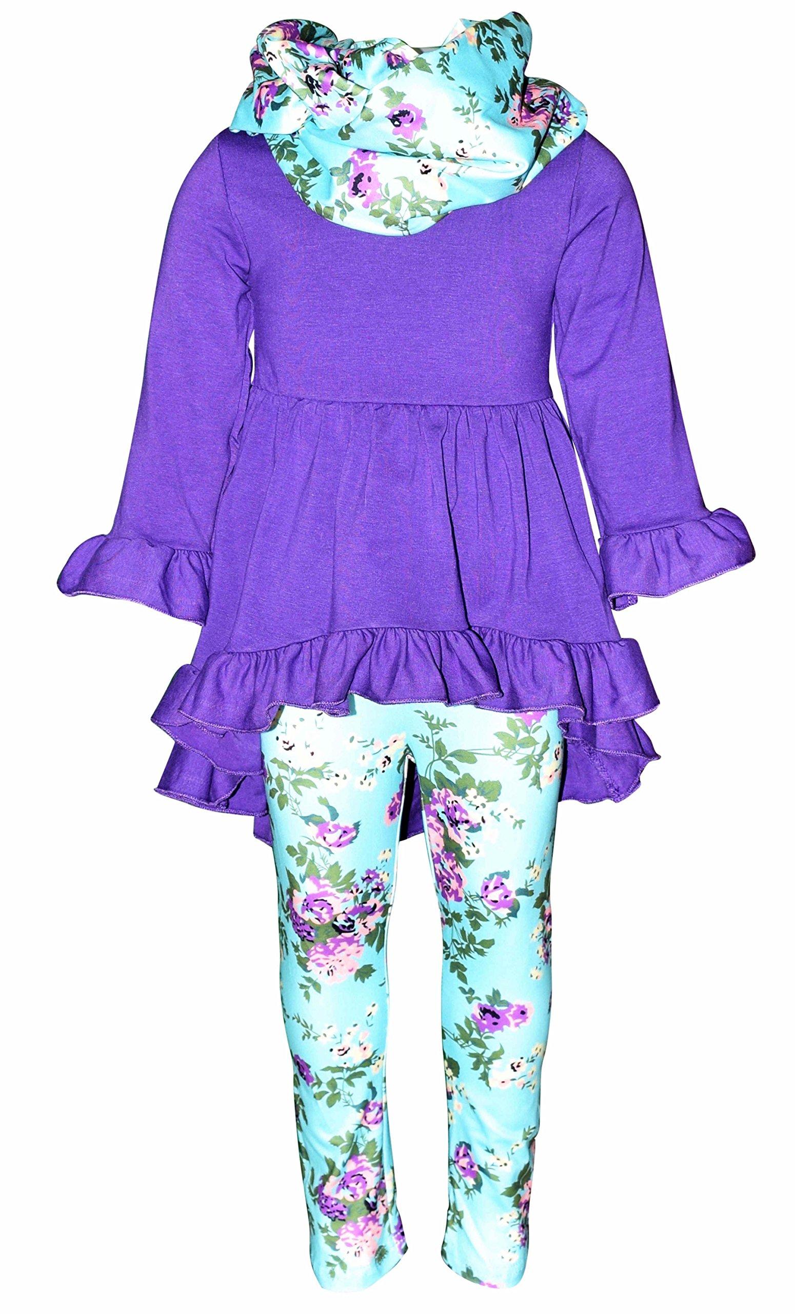 Unique Baby Girls Boutique 3 Piece Purple Floral Legging Set (7/XXL)