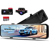 PORMIDO 12 inch Mirror Dash Cam with Split Front Camera 360°,Anti Glare Touch Screen Full HD 1920P,Car Rear View Backup…
