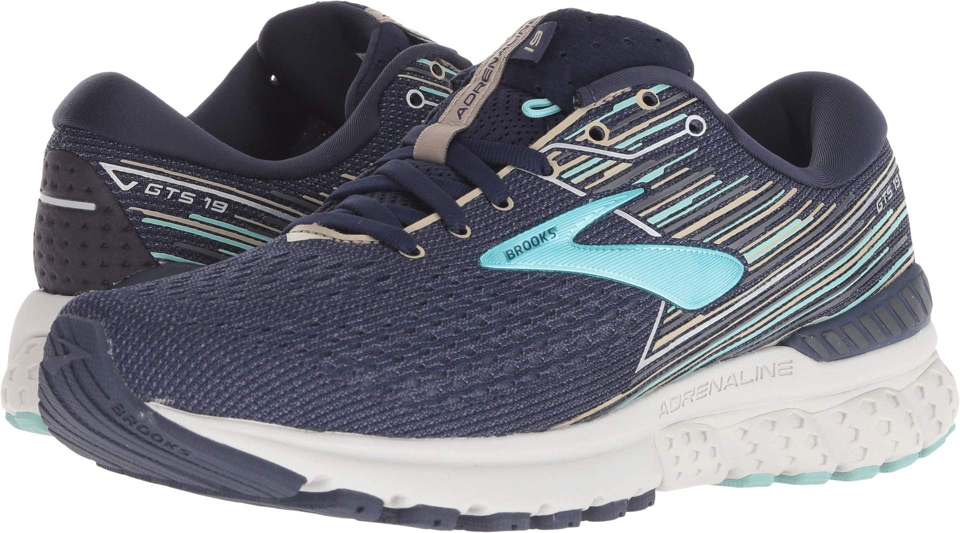 Brooks Women's Adrenaline GTS 19 Navy/Aqua/Tan 12 Wide US by Brooks