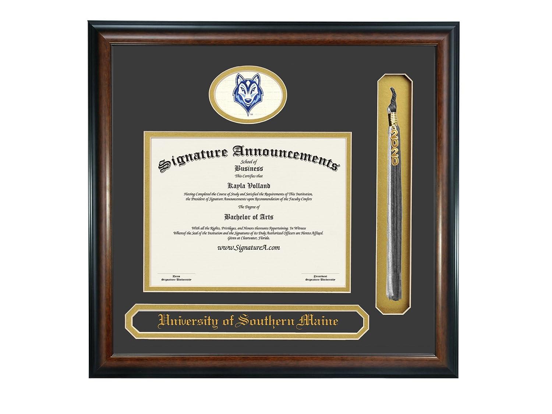 Signature Announcements University of Southern Maine Undergraduate Sculpted Foil Seal Name /& Tassel Graduation Diploma Frame 16 x 16 Matte Mahogany