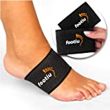 FOOTIU by AZMED - Compression Copper Arch Support Brace - 2 Plantar Fasciitis Sleeves For Pain Relief, Heel Spurs and Flat Feet with Gel Cushions Bonus