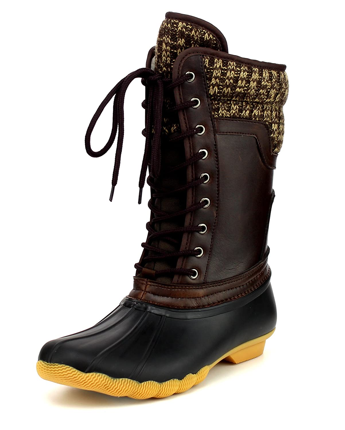 Women's Waterproof Duck Boots Rubber Two Tone Mix Media Skimmers Winter Rain Snow Mid Calf Boots