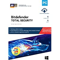 BitDefender Total Security Latest Version with Ransomware Protection (Windows) - 1 User, 1 Year (Email Delivery in 2 hours - No CD)