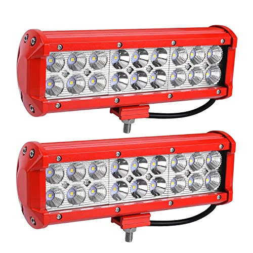 YITAMOTOR Red 2Pack 54W 9inch LED Work Light Spot Flood Combo Offroad Driving Fog Pod Lights Waterproof ATV 4X4 4WD Pickup Truck Golf Cart Boat 12V, 2 Years Warranty