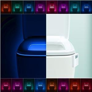 2 Pack LumiLux Advanced 16-Color Motion Sensor LED Toilet Bowl Night Light, Internal Memory, Light Detection, White