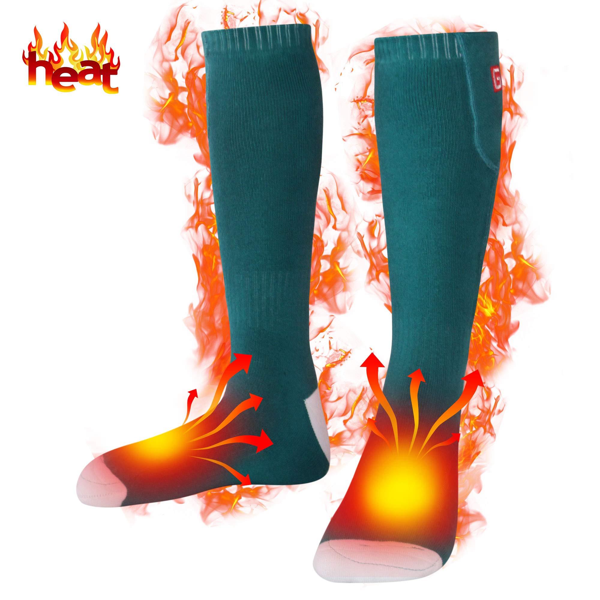 Heated Socks Men Women Electric Socks Rechargeable Batteries Socks Foot Warmers for Skiing by MMlove