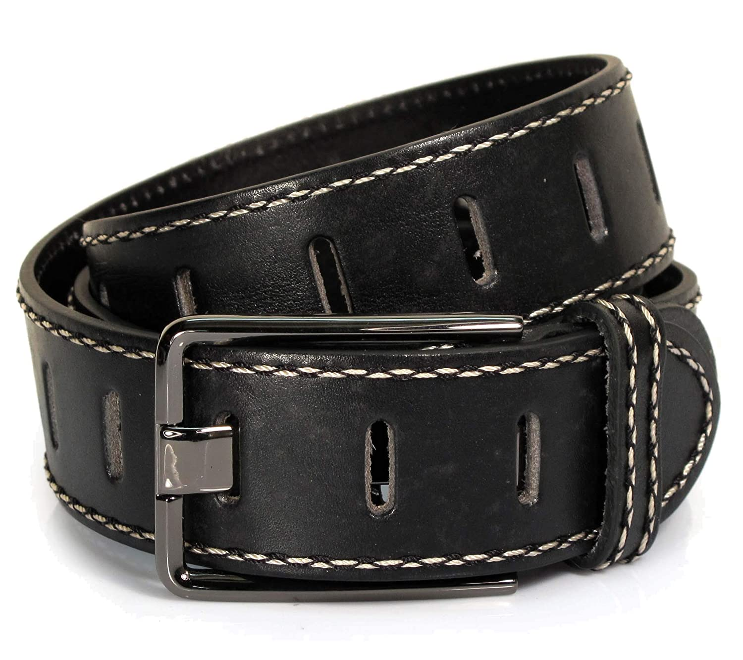 Mens Real Genuine Leather Black Belt 1.5 Wide S-L Thick Long Casual Jeans CM5