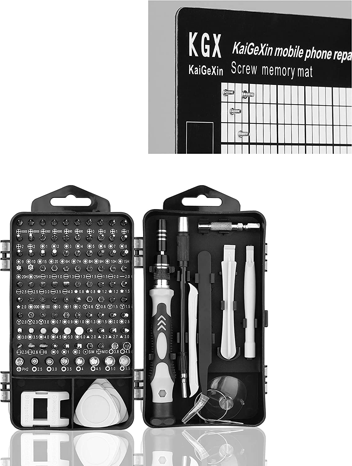 Hautton Mini Precision Screwdriver Set, 118 in 1 Magnetic Screwdriver Bit Kit, Multi-Function Stainless Steel Professional Repair Tool Kit for Phone, Laptop, PC, Glasses, Electronics, and More -Black