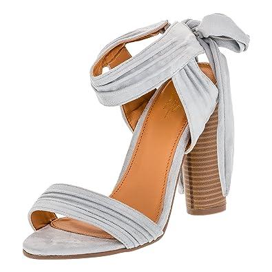 W.S Shoes Damen Sandaletten High Heels Sandalen Blockabsatz Schuhe