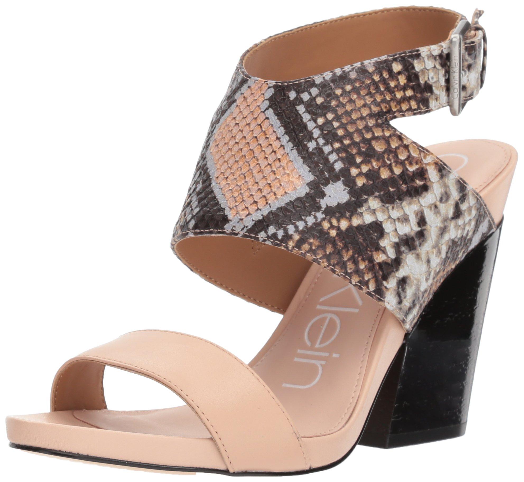 Calvin Klein Women's Emmett Heeled Sandal, Sheer Satin Snake Leather, 5 Medium US