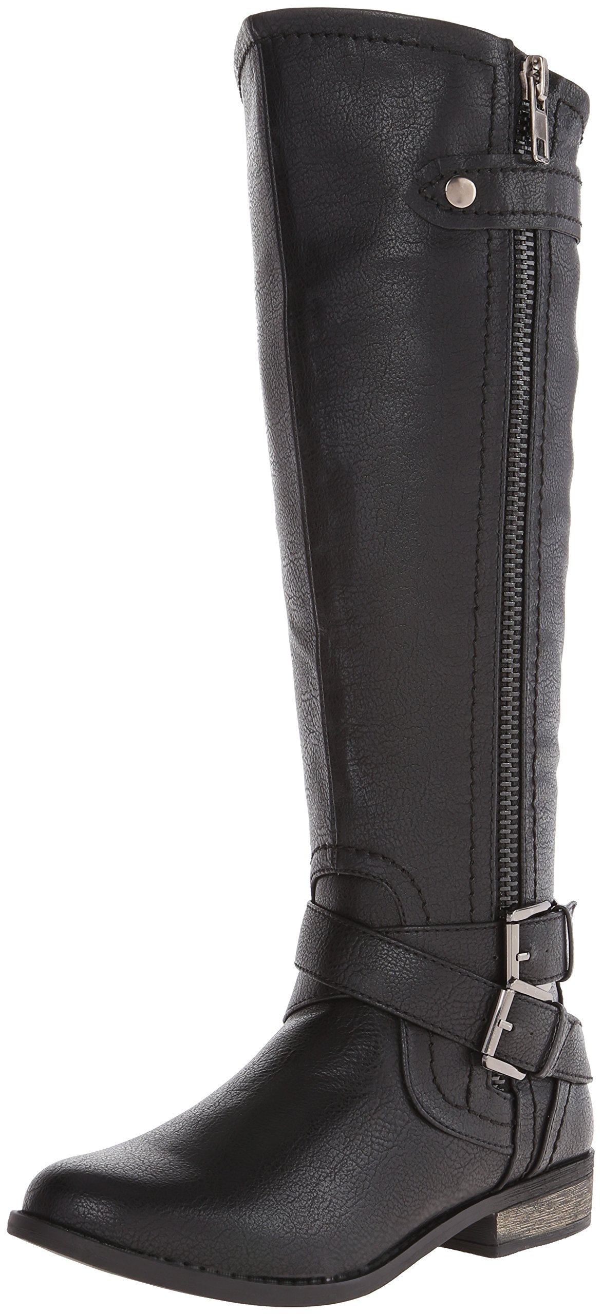 Rampage Women's Hansel Zipper and Buckle Knee-High Riding Boot,Black Smooth,7 B(M) US Regular Calf