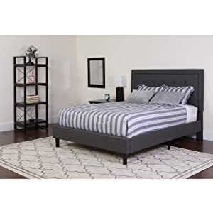 Flash Furniture Roxbury Full Size Tufted Upholstered Platform Bed in Dark Gray Fabric - SL-BK5-F-DG-GG
