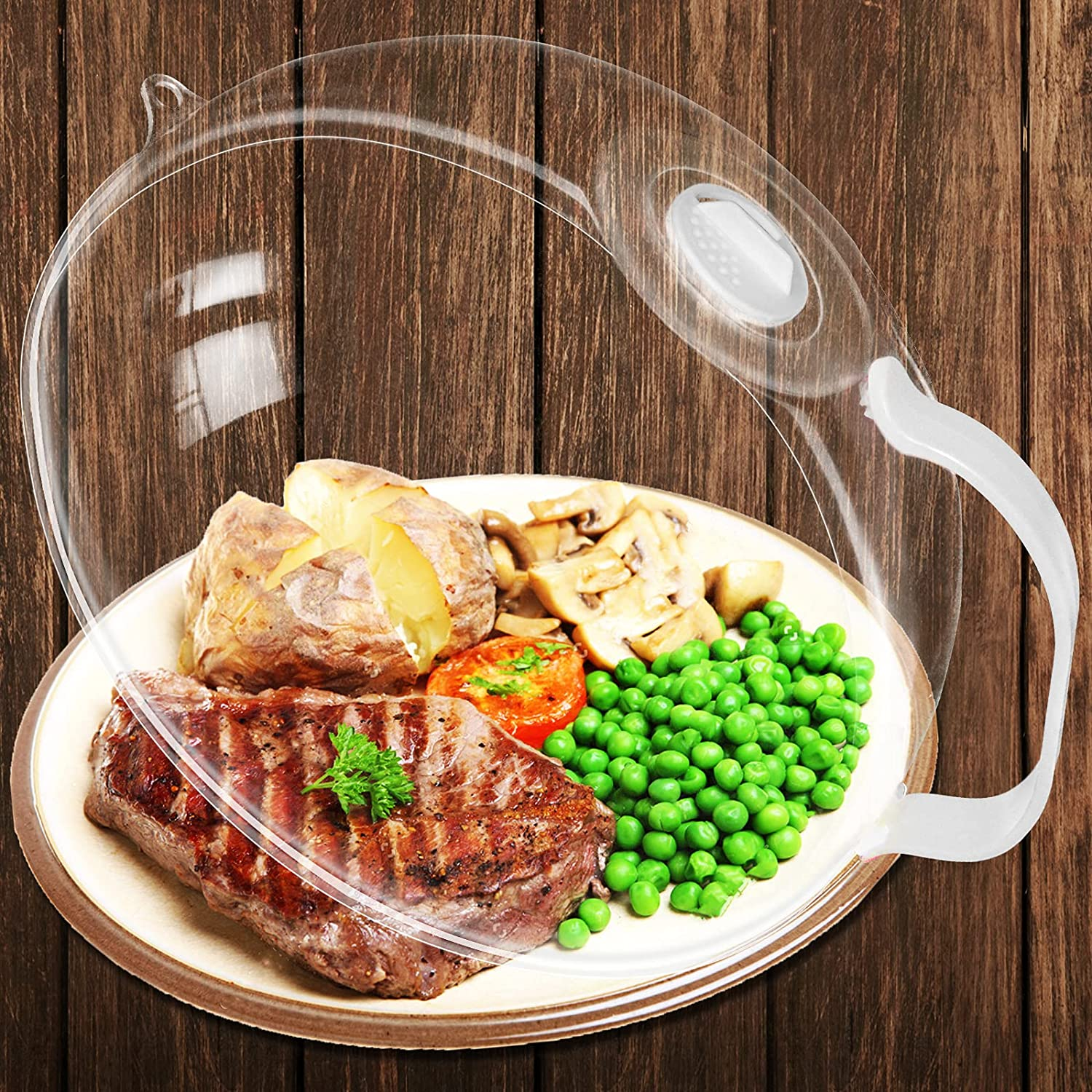 Microwave Splatter Cover,Microwave Cover for Food,Microwave Plate Cover Guard Lid with Handle,Hanging Hole and Adjustable Steam Vents Microwave Oven Cleaner,10.5 Inch Transparent & BPA Free