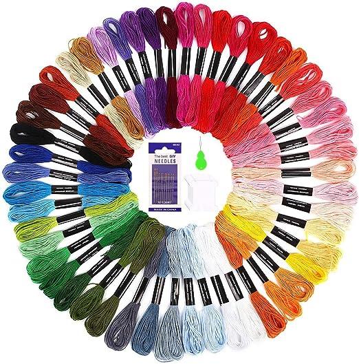 SOLEDI Hilo de Punto de Cruz 50 Tipos de Colores Bordados Hilo de ...
