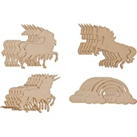 Wood Cutouts - 24-Pack Unfinished Wooden Cutouts, 4 Unicorns and Rainbow Shapes for DIY Arts and Crafts Projects, Decorations, Ornaments, 6 of Each
