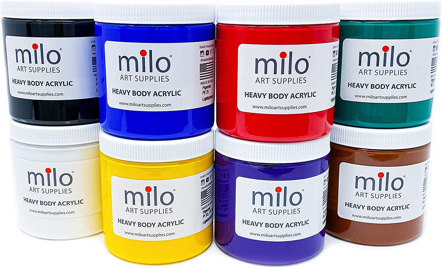 milo Heavy Body Acrylic Paint Set | 8 x 8 oz Jars | Made in the USA | Includes Palette Knife