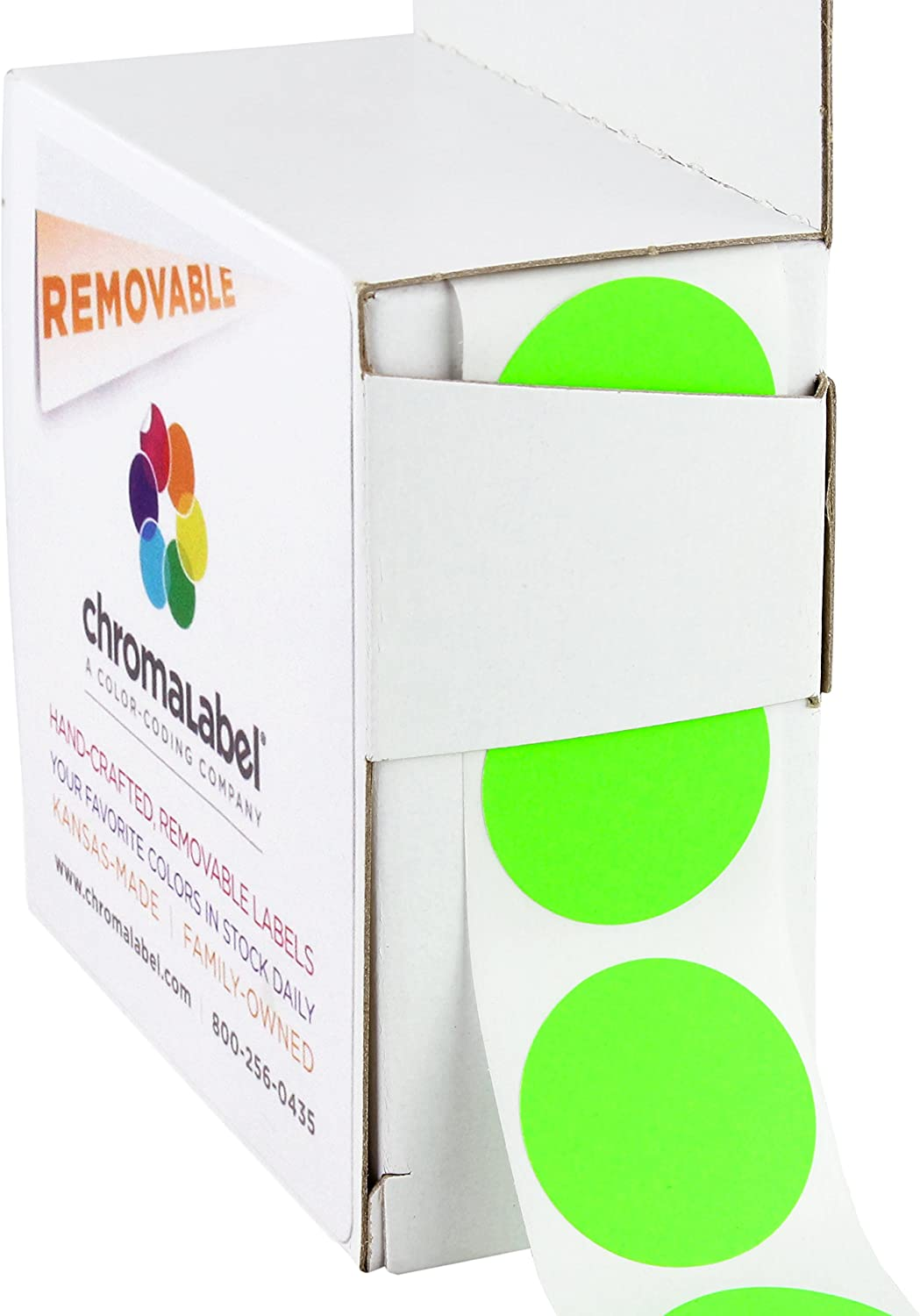 ChromaLabel 1 Inch Round Removable Color-Code Dot Stickers, 1000 per Dispenser Box, Fluorescent Green