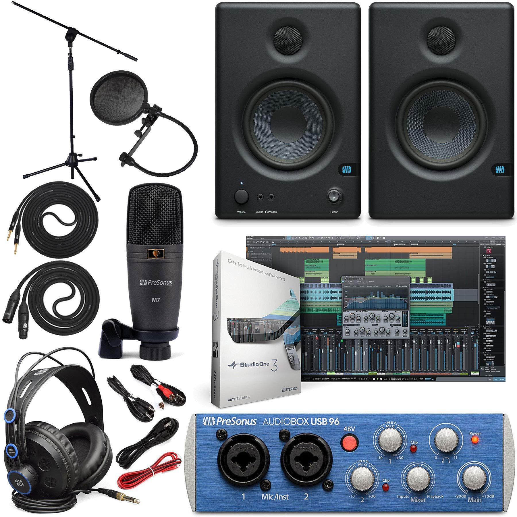 Presonus AudioBox 96 Audio Interface Full Studio Bundle with Studio One Artist Software Pack w/Eris 4.5 Pair Studio Monitors and 1/4'' TRS to TRS Instrument Cable