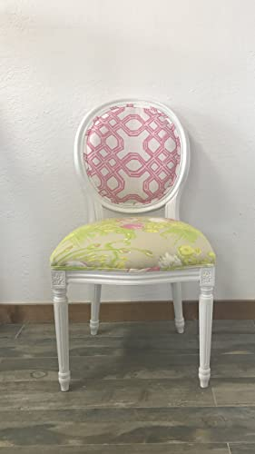 Louis XV French Style White Round Back Side Chair | Lilly Pulitzer  U0026quot;Well Connectedu0026quot
