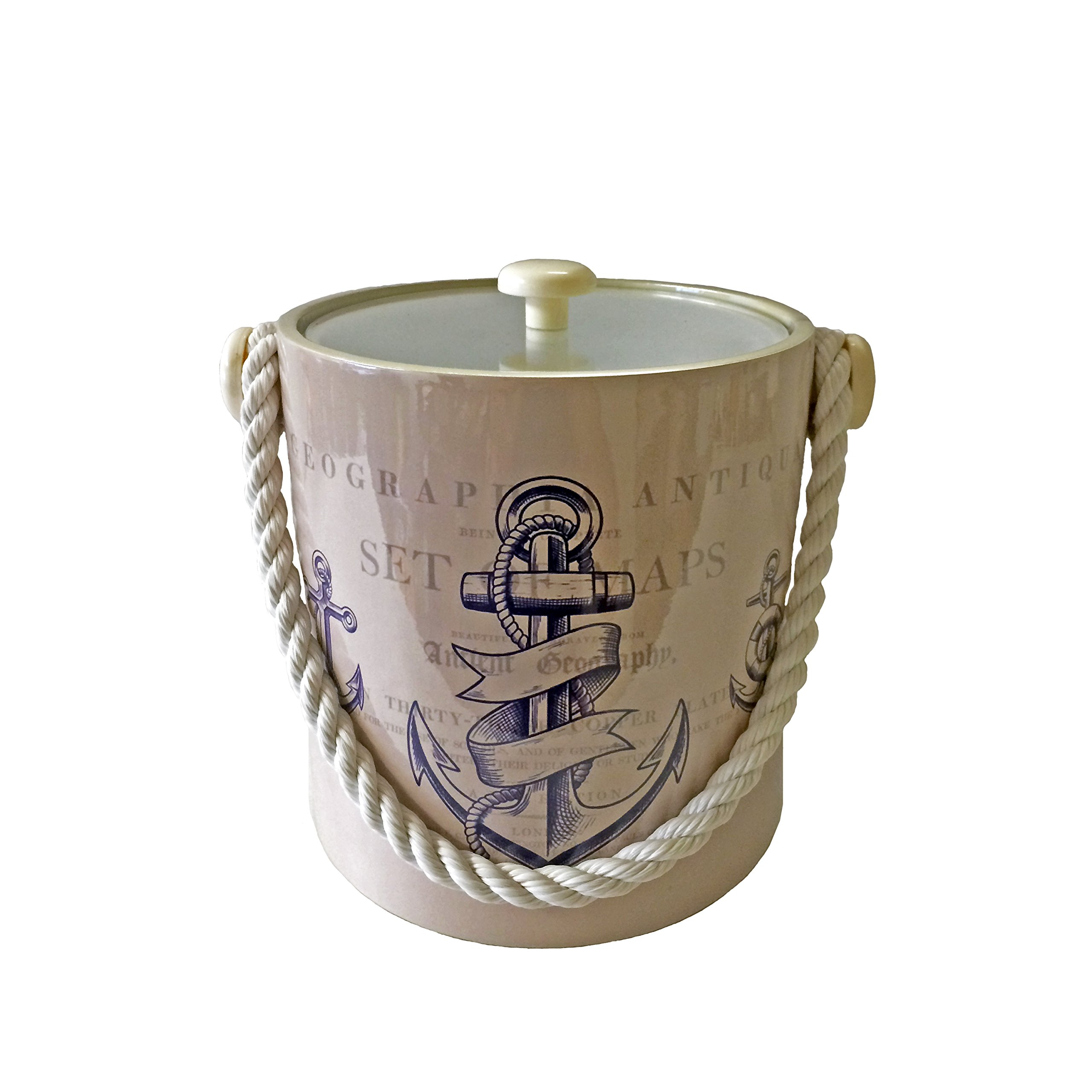 Mr. Ice Bucket - Nautical Themed 3 Qt. Beige w/ Blue Anchor & Rope Handle Ice Bucket - Double-Walled Insulated Bucket & Lid Keeps Ice Frozen for Hours - Top Rated Accessory for Wet Bar Events & Boats