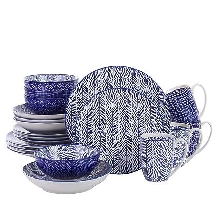 vancasso Serie Takaki Juego de Vajillas 20 Piezas Colores Porcelana Vajilla Combinacion con Tazas/Platos Combinacion Estilo Japones Azul