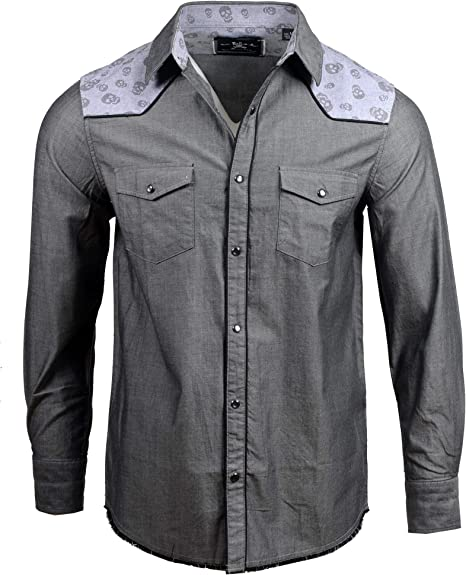 Rock Roll N Soul Men S L S Skull Yoke Fashion Shirt In Charcoal 338ch L Amazon Ca Clothing Accessories