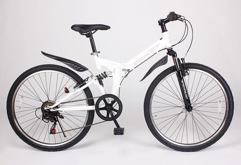21Technology【MTB266】折りたたみ マウンテンバイク 26インチ シマノ製6段変速ギア付き B00I31ES42 ホワイト ホワイト