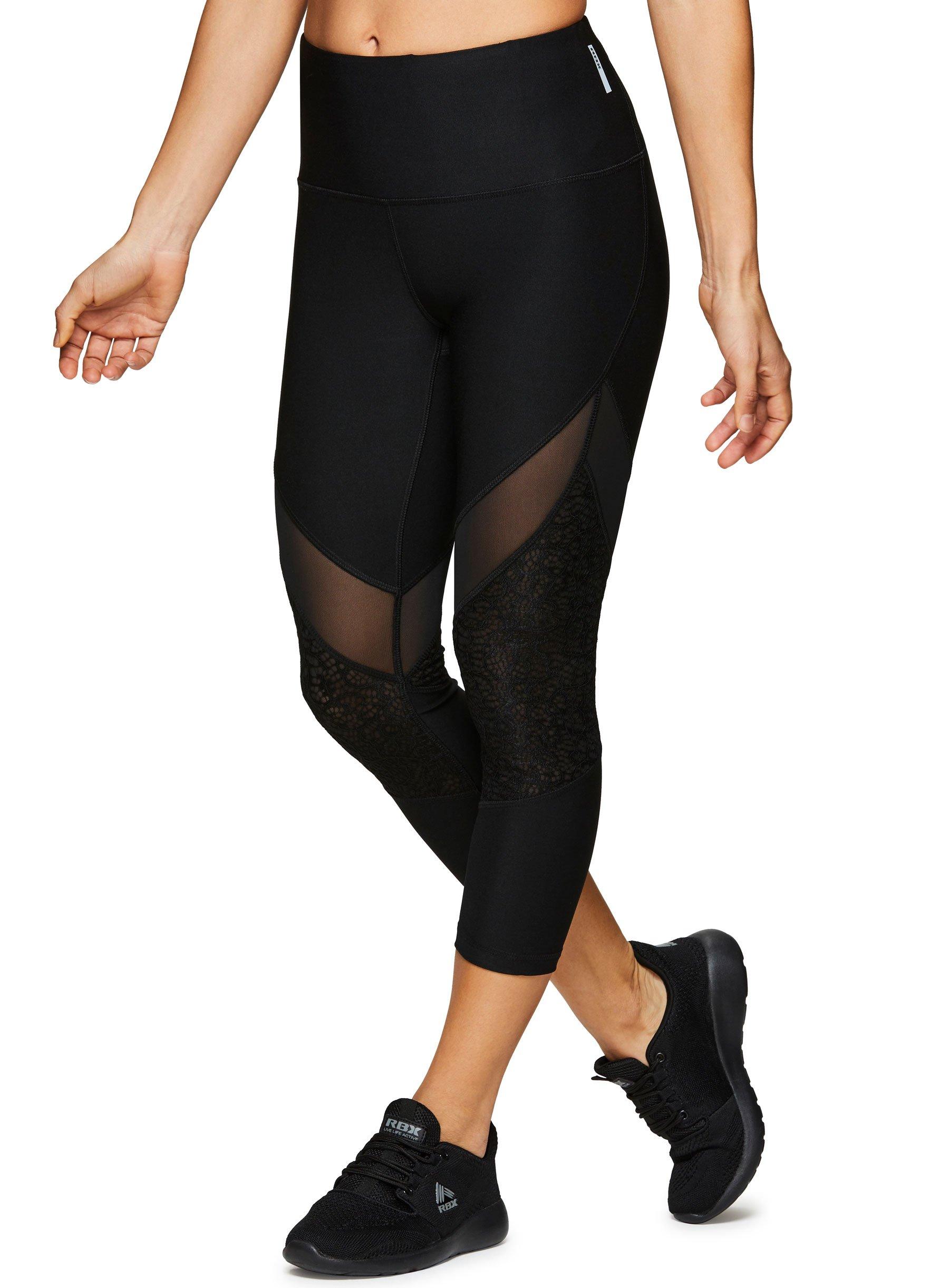 7891c4a366fdc Galleon - RBX Active Women's Workout Yoga Leggings Lace Insert Black S
