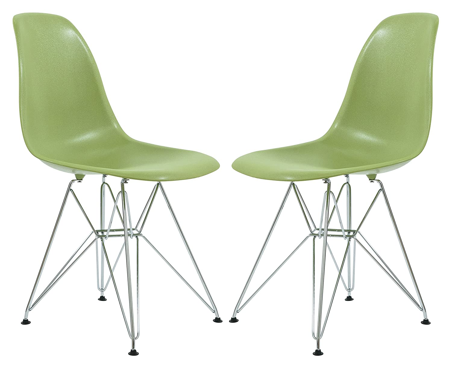 LeisureMod Cresco Molded Eiffel Base Modern Side Dining Chair in Solid Green, Set of 2