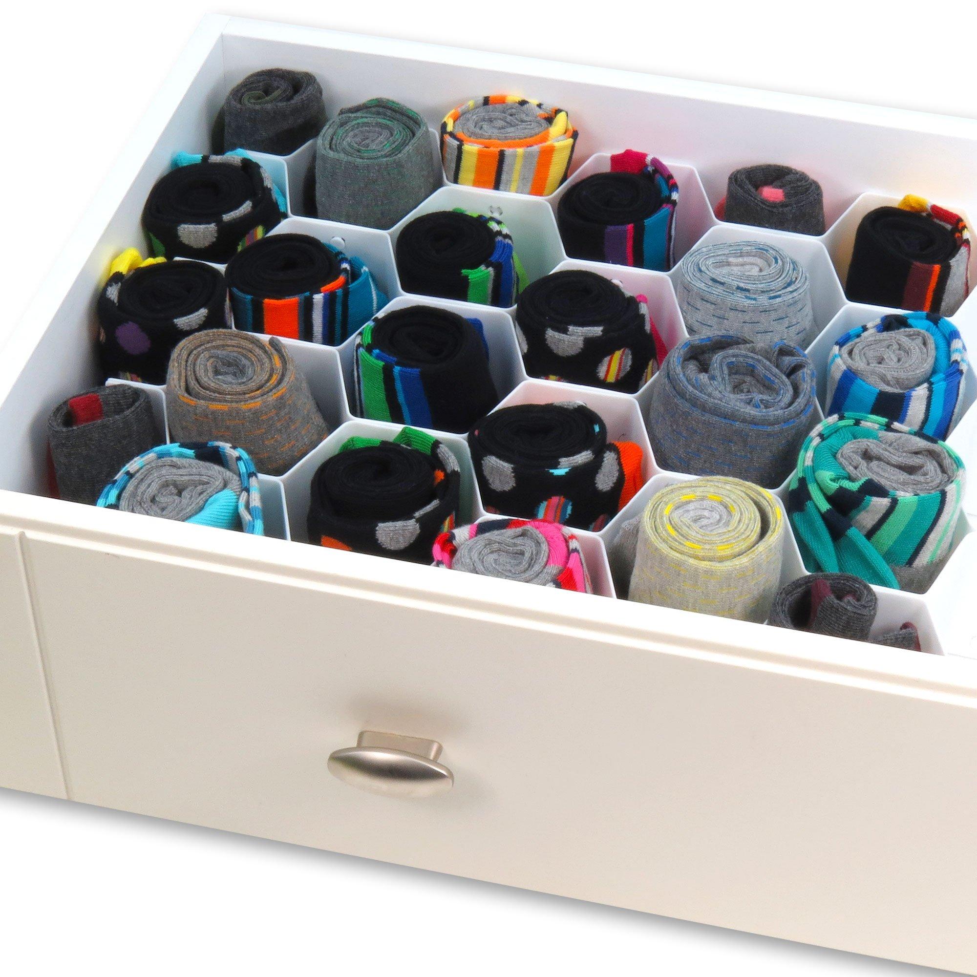 Hangerworld Separador para Cajones 32 Divisiones Organizador de Corbatas Calcetines Pañuelos Blanco product image