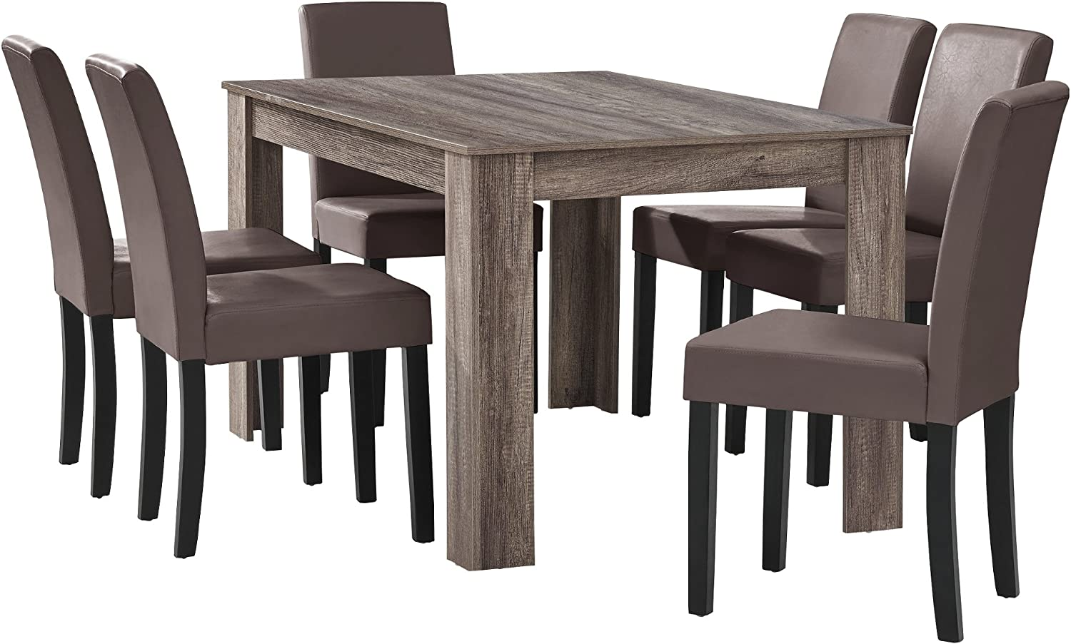 En Casa Antique Oak Dining Table With 6 Chairs Brown Faux Leather Padded 140 X 90 Cm Dining Room Amazon De Kuche Haushalt