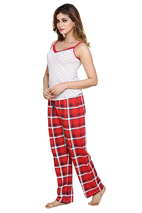 PDPM Women s Cotton Pajama and Cotton Lycra Slip Camisole Combo Night Pyjama  Night Lower Loungewear Nightwear  Amazon.in  Clothing   Accessories ddbec50a6