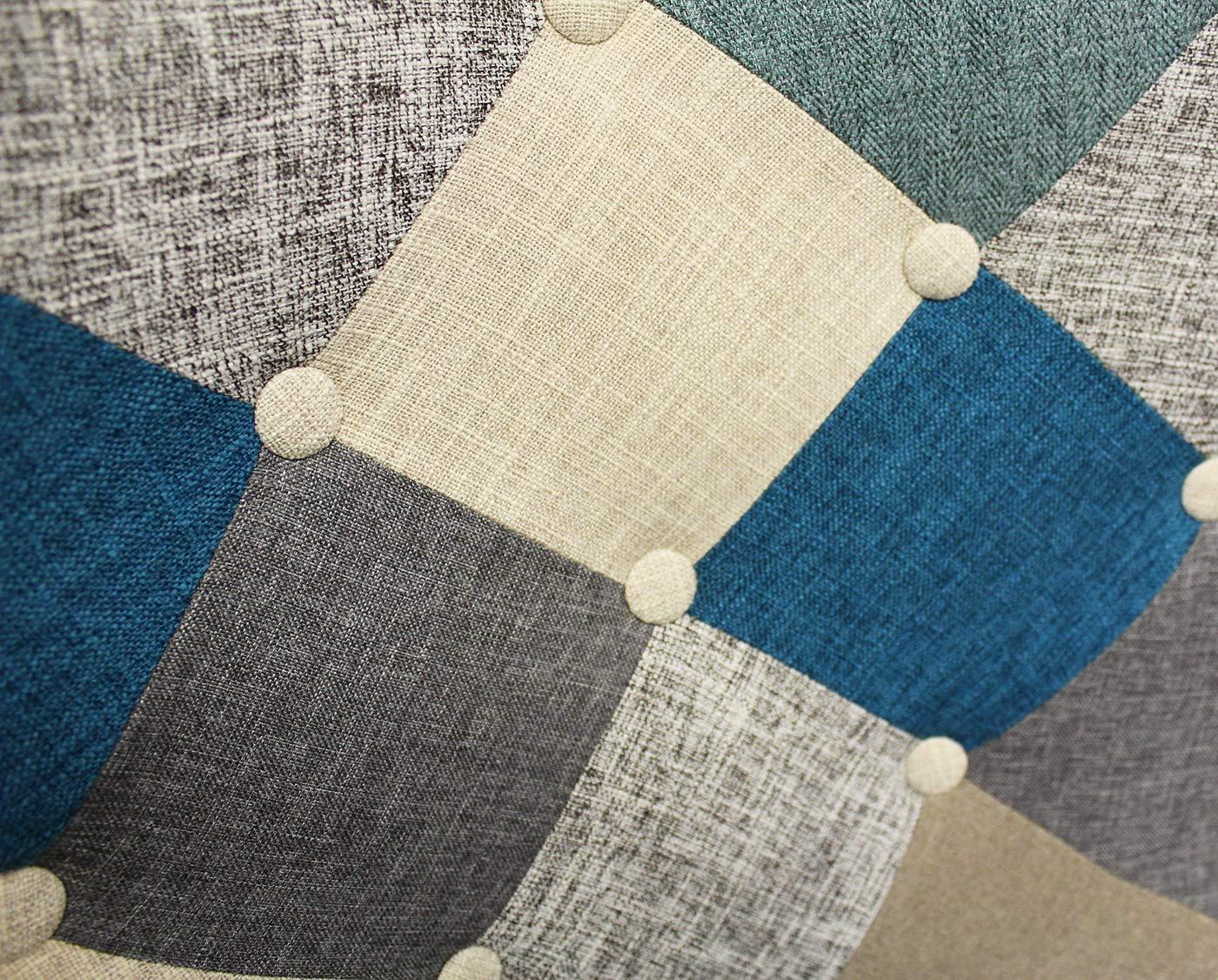 Meubletmoi Fauteuil Patchwork Scandinave Tissus chin/é Bleu Beige Gris Pearl d/écoration Vintage Cosy