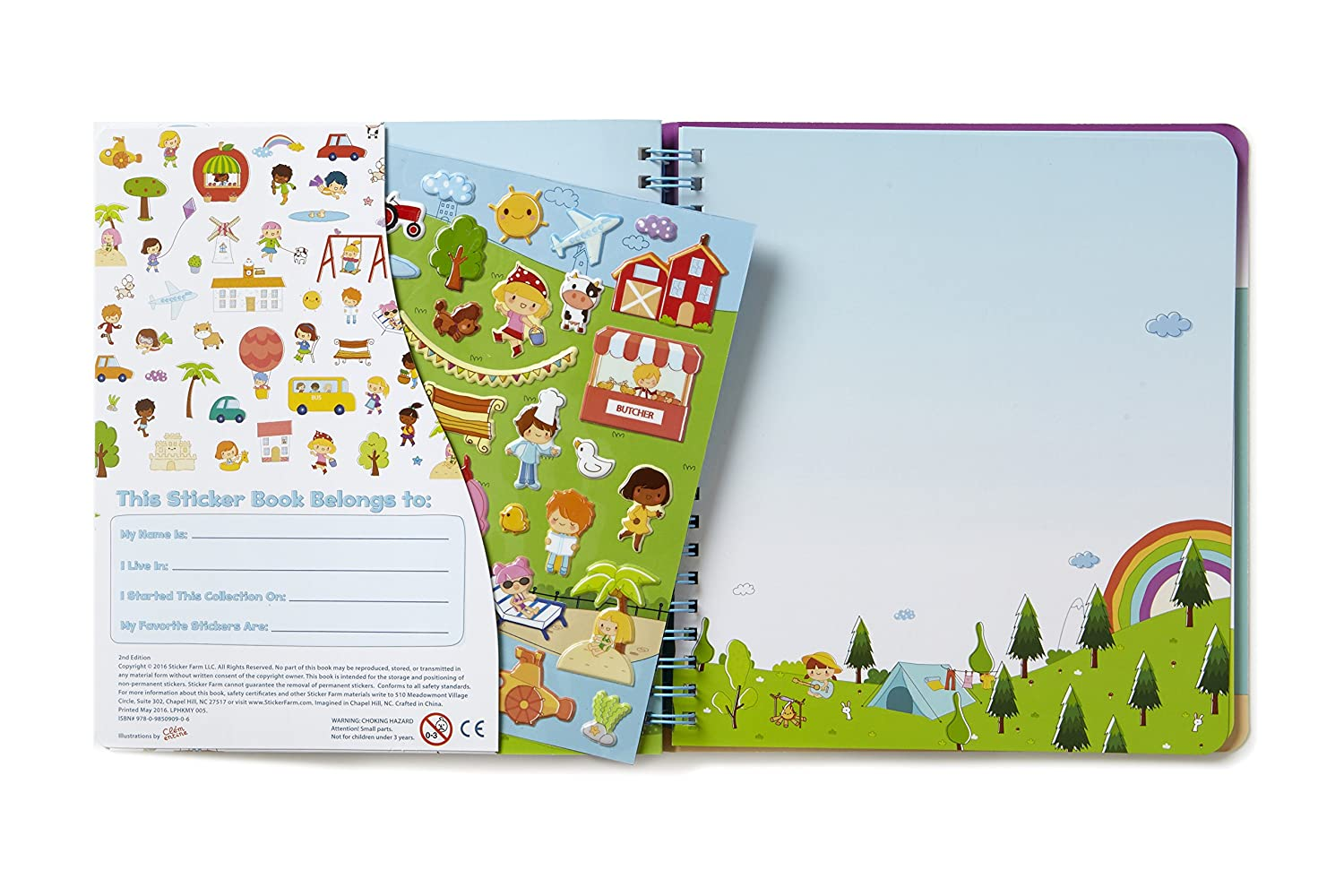 Sticker Farm Original Series Travel-Size Small Activity Album with 30 Puffy Stickers to Start Collection Reusable Sticker Album for Collecting Stickers 7.5 x 7 in