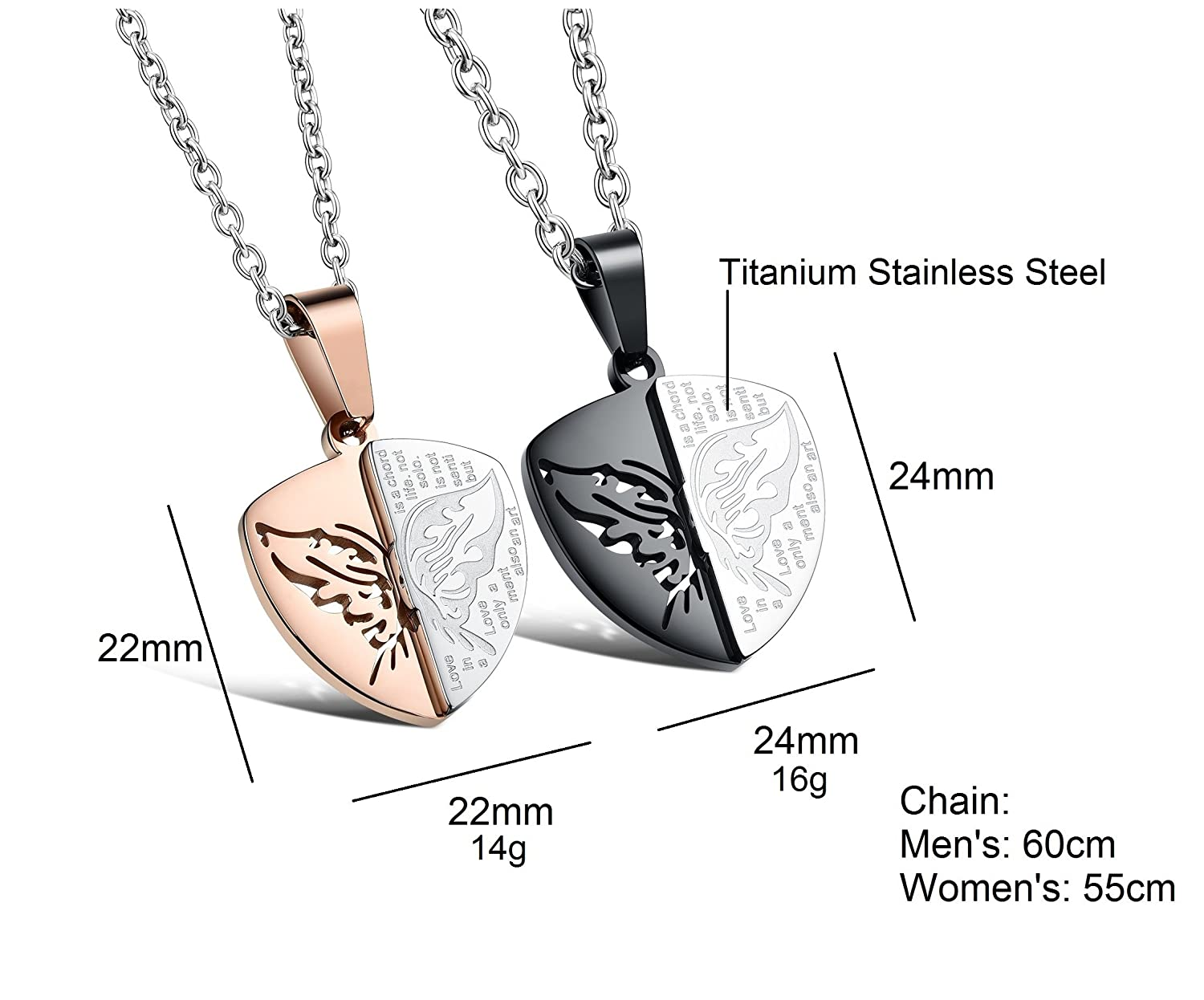 Amazing Titanium Stainless Steel You Are My Shield Protecting Me Couple Pendant Necklace Matching Set