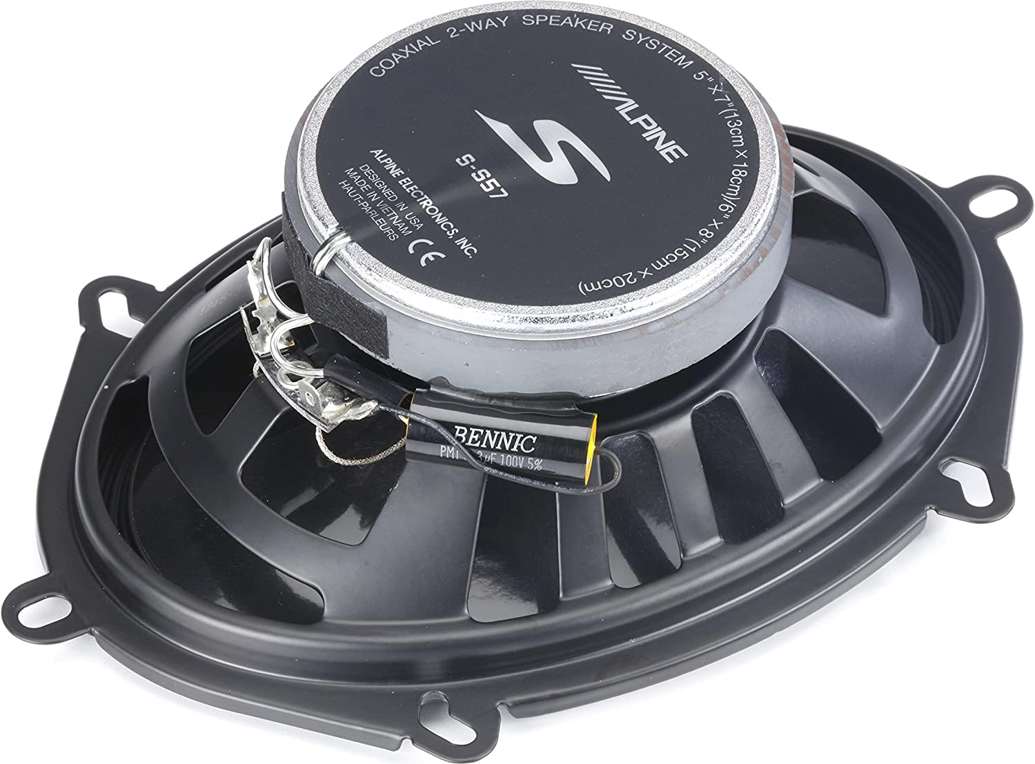 Alpine BBX-F1200 Amplifier with Two Pair of Alpine S-S57 5X7//6X8 Coax Speakers and Wiring Kit