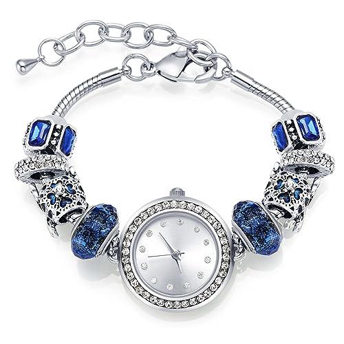 MANBARA Bracciale Orologio da Polso Braccialetto Charms per Donna Ragazza  Swarovski Cristalli, Quadrante in Argento Placcato, Cinturino Regolabile,